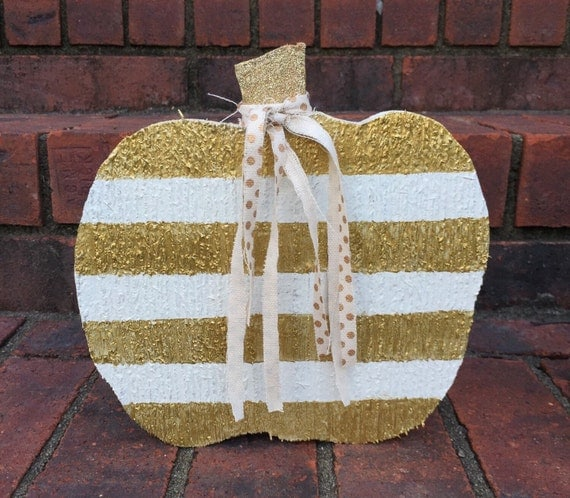 Wooden Mini Pumpkin ~ Gold and White Stripes