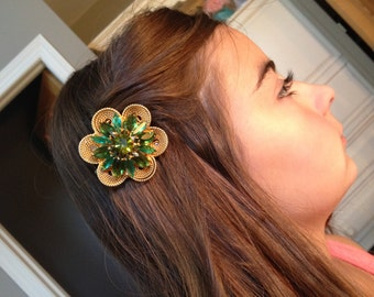 Vintage Rhinestone Green and Gold Hair Clip