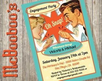 Oh Snap! Retro Engagement Party Invitation