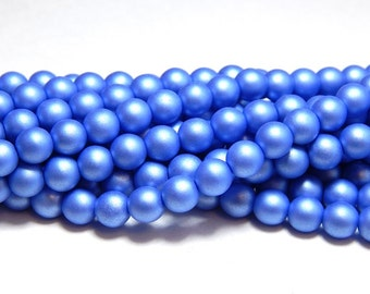 6mm Blue Glass Pearls, 6mm Blue Pearls, 6mm Blue Beads, Matte Blue Beads, Blue Pearls, Czech Pearls, Matte Beads, 6mm Round Pearls T-092B
