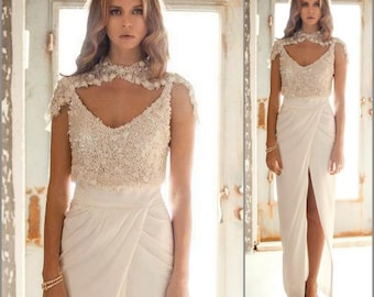 2 Piece Wedding Dress, sequin wedding dress, Two Piece Wedding Dress, Unique wedding dress, bridal gown, Bridal dress, sequin Top