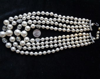 1960's faux pearl necklace four strands with crystals
