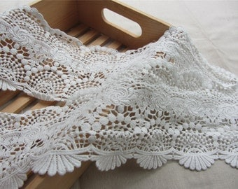 "4.72""  Cotton Lace Trim , Crochet Lace Trim, Antique Lace Trim, white Cotton Lace,white lace trim"