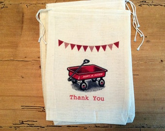 6 Red Wagon Gift Party Favor Bags. Set of 6 - 5x7 6x8 7x9 7x11 Drawstring Birthday Thank you Personalized