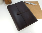Leather Folio (A4 size) Dark Brown Notebook & Journal Cover with pen holder. 6 leather colour options.