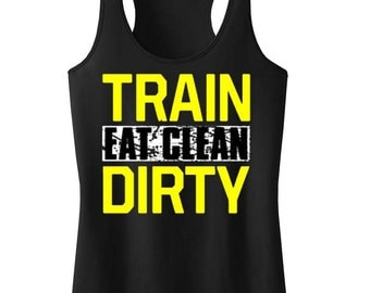 Eat Clean Train Dirty Girl's Workout Racerback Tank Top Black Juniors S-XL