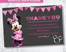 Minnie Mouse Thank You.Minnie Mouse Birthday Thank You.Minnie Mouse Party Card. Pink Minnie Mouse Thank You. Printable Thank You Card.Thanks