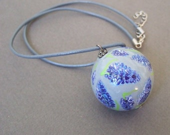 Hand-painted ceramic pendant with grape hyacinths