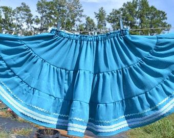 Square dance skirt blue plus size