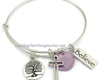 TREE OF LIFE Believe Cross Bangle,Fully Adjustable Wire bangle,Alex and Ani Inspired,Tibetan Silver charm Bracelet,One Size Fits Most