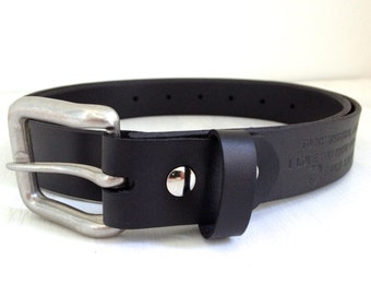 Hidden Message Leather Belt - Personalized Initials Black Leather Belt Hand Tooled with your Special Message - Anniversary Gift