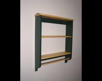 Pine 2-Tier Wall Shelf W/ Towel Bar.