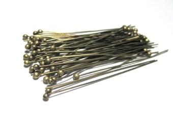 100pcs Antique Bronze Ball Head Pins 40mm 24Ga Ball Pins (No.339)