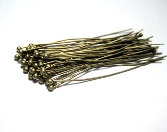 100pcs Antique Bronze Ball Head Pins 45mm 24Ga Ball Pins (No.088)