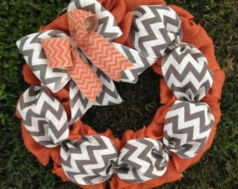 Fall Door Wreath Fall Burlap Wreath Autumn Wreath Harvest Wreath Orange and Natural and Gray Chevron side Bow