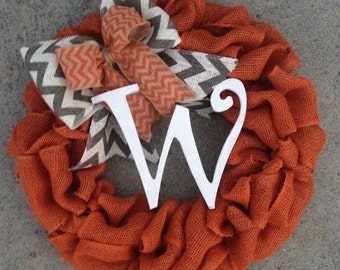 Fall Wreath, Fall Monogram Wreath, Autumn Wreath, Halloween Wreath, Burlap Wreath with Initial