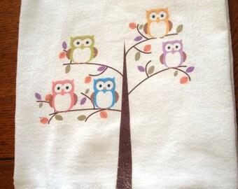 Flour Sack kitchen Towel, Owl