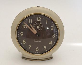 Vintage Alarm Clock, Westlox, Baby Ben, Wind Up Clock, Cream Brown