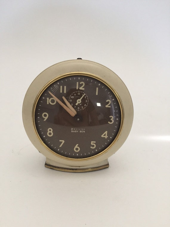 Vintage Alarm Clock Westlox Baby Ben Wind Up Clock Cream