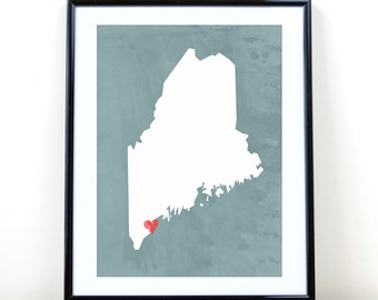 Maine Art Print, Maine State Print, Wall Art, Personalized State Print, Wall Decor, State Love Map Print, Portland, CUSTOMIZE