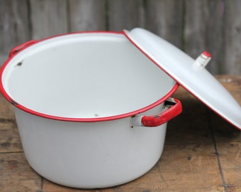 Vintage Enamel Stock Pot with Lid. Red trim on white