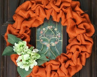Fall/ Autumn Burlap Wreath- Hydrangeas- Rustic Chic- Halloween Wreath-Storm Door Wreath