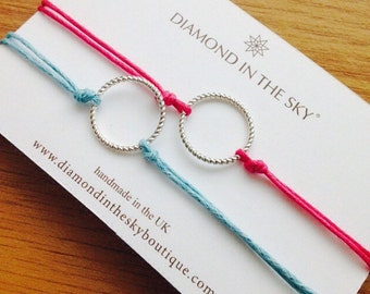 Circle Karma Cord Friendship Bracelets: set of Two On Giftcard. (Other colours available)