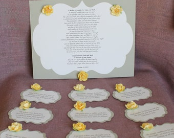 Wedding Shower Candle Poem Tag Set Grey and Yellow. Bridal candle basket Poem and Tags. Sentimental wedding gift.  Shower Present.  Bride