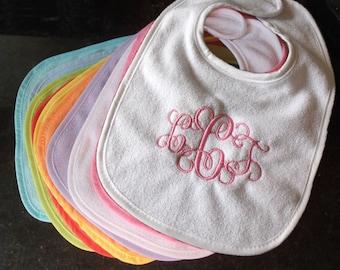 Monogram bib, embroidered bib, monogrammed bib, pvc-free bib, initial bib, baby bib, personalized bib, baby shower gift, initials bib