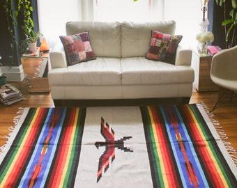 Southwest Rug Blanket Thunderbird Cream