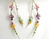 Unique gemstone flower earrings; Long curved dangles; Silver wire wrapped artisan jewelry; Sapphire tourmaline; Delicate tendrils; AAA gems