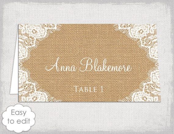 rustic place cards template burlap diy printable
