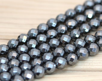Faceted Hematite Beads, 8mm, 16 inch strand