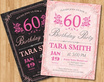 60th Birthday Invitation for Woman. Adult birthday party invites. Pink and Black or Any custom color. Floral. Any age. Printable digital.