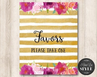 Gold Stripes Wedding Favors Sign, Pink Roses Digital Printable Wedding Sign, Magenta Flowers Watercolor, INSTANT DOWNLOAD