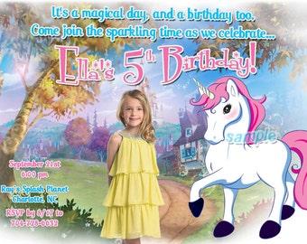 Enchanted Unicorn Custom Photo Birthday Party Invitations