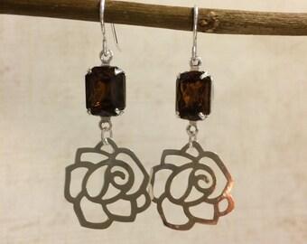 Brown Dangle Earrings, Brown Drop Earrings, Brown Chandelier Earrings, Brown Earrings, Brown Glass Earrings, Wedding Earrings