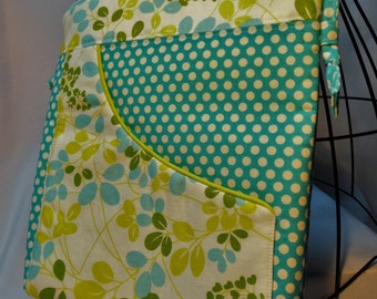 Crossbody Hip Bag - Teal and Green Floral