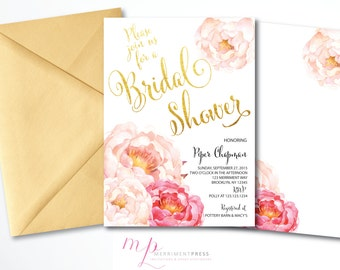 Peony Bridal Shower Invitation Peonies Pink Watercolor Calligraphy Faux Gold Foil Elegant - CALABASAS Collection