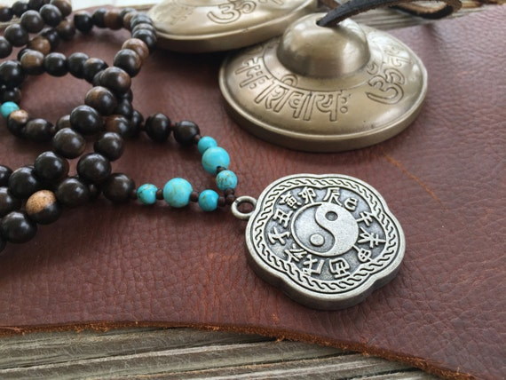 Yin Yang Mala Necklace, Turquoise and Wood Mala Beads, Yin Yang Jewelry,Yoga Meditation Beads, Bohemian Necklace Yoga Necklace 108 Bead Mala