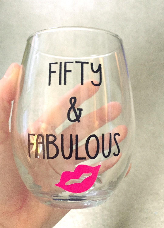 50 Fabulous Ways To Wear Glitter Nails Like A Boss: Fifty & Fabulous Wine Glass 50th Birthday WIne By DashofFlair