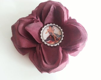 Pin Up Rockabilly Hair Flower in Party Dress- Pin Up Hair Flower- Pin Up Hair Accessories- Pin Ups- Rockabilly- Psychobilly- Hair Flowers