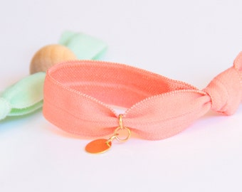 Two Bracelets - Coral - Mint - Little gold plated pendant - Wooden bead