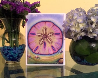 "Custom Art Blank Greeting Card Of ""Sand Dollar"" Print"