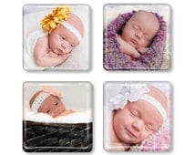 Custom Photo Magnets, Personalized Magnet, Set of 4, Photo Magnet, Picture Magnet, Baby Magnet, Custom Gift, Personalized Gift, Glass Magnet