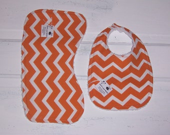 Orange Chevron Baby Bib and Burp Cloth Set !  FREE SHIPPING !!!!!!