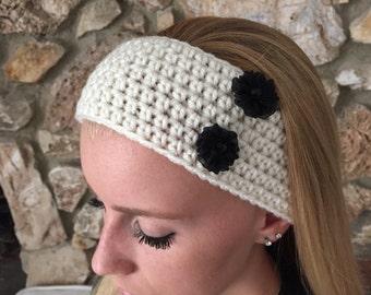 Ecru Crochet Headband with Two Black Flowers  Women's Hairband, Crochet Headwrap, Fall, Winter Headband -  READY TO SHIP!
