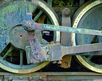 Old Locomotive Photograph, Train Drive Wheels, Railroad, Vintage Industrial Art, Fine Art Photograph for Your Home and Office Wall Decor