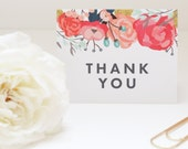 Floral Thank You Card | Floral Thank You Note | Stationery | Stationary | Wedding Thank You Notes | Shower Thank You Notes | Rose | Feminine