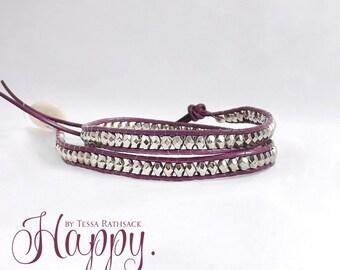 One Wrap Bracelet, Two Wrap Bracelet, Three Wrap Bracelet, Purple Bracelet, Silver Bead Bracelet, Chan Luu Bracelet, Bohemian Bracelet